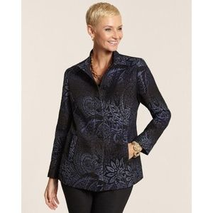 Chicos S 0 Blue black Muse Artisan Jacket jacquard